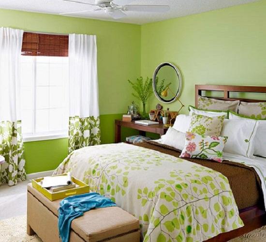 Lựa chọn rèm cửa sổ màu gì hợp với tường màu xanh